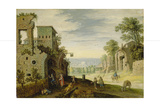 Landscape with Ruins and View of a Town, Ca. 1620 Giclee Print by Marten Ryckaert