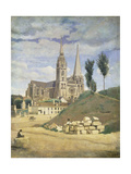Chartres Cathedral, 1830 Art by Jean-Baptiste-Camille Corot