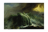 Tempest with Lightning Striking at Grindelwald Glacier Giclee Print by Caspar Wolf