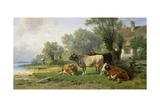 Cattle in a Farmyard Along a River with a Fisherman Beyond, 1881 Giclee Print by Johann Friedrich Voltz