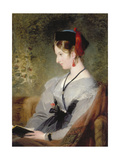 Portrait of Elizabeth Wells (Later Lady Dyke) Wearing a Grey Dress and Holding a Book Print by Edwin Henry Landseer