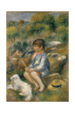 Young Boy with His Dog by a Brook, 1890 Giclee Print by Pierre-Auguste Renoir