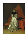 Lady in a Golden Dress in Front of a Bed with Red Curtains, C. 1655 Giclee Print by Gerard ter Borch