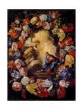 Annunciation in a Floral Wreath Giclée-tryk af Carlo Maratti