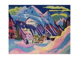 Davos in Winter, 1923 ジクレープリント : エルンスト・ルードヴィッヒ・キルヒナー