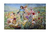 The Knight with the Flower Nymphs Giclee Print by Georges Rochegrosse