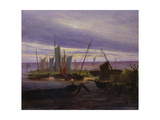 Boats in Harbour at Evening, 1828 Giclee Print by Caspar David Friedrich