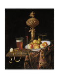 Fruit Bowl, a Beer Glass, a Wine Glass and a Statuette Giclee Print by Georg Hinz