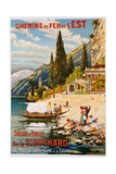 Switzerland and Italy Via St, Gotthard (Suisse Et Italie Par Le St Gothard), 1907 Giclee Print by G. Krallt