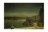 View onto the Port of Rouen from the St.Pierre Bridge Giclee Print by John Atkinson Grimshaw