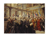 Pope Leo XIII, Blesses the Pilgrims in the Sistine Chapel, 1906 Giclee Print by Max Liebermann