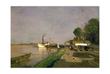 Landing Place for Steamships Near Kaisermuehlen on the Danube Giclee Print by Jakob Emil Schindler