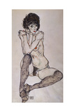 A Seated Nude Girl, 1914 Giclee Print by Egon Schiele