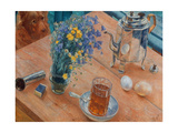 Morning (Still Life with Tea Pot, Glass of Tea and Vase of Flowers), 1918 Giclée-Druck von Kosjma Ssergej Petroff-Wodkin