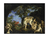 Diana with Nine Nymphs and Actaeon, 1625-1630 Giclée-tryk af Francesco Albani