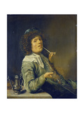 Man Smoking a Pipe and an Empty Wineglass Giclee Print by Jan Miense Molenaer