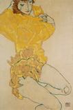 Kvinde der klæder sig af, 1914  Giclée-tryk af Egon Schiele