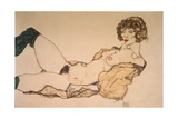 Reclining Nude in Green Stockings, 1914 Giclee Print by Egon Schiele