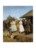 A Village Wedding in Hungary Giclee Print by Lajos Deák-Ebner