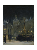Marienplatz (Mary's Square) in Munich During a Winter Night, 1890 Giclee Print by Johann Friedrich Hennings