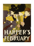 Harper's February, 1897 Giclee Print by Edward Penfield
