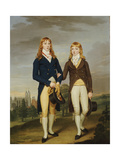 Portrait of Two Eton Schoolboys, Eton Chapel Beyond Giclee Print by Francis Alleyne