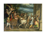 The Triumph of Titus and Vespasian, C. 1537 Giclée-tryk af Romano, Giulio