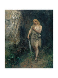 "Siegfried in Front of Fafner's Cave with the Ring and His Sword Named ""Notung"" Giclee Print by Ferdinand Leeke"