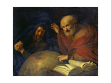 Heraclitus and Democritus with a Globe Depicting South America Giclee Print by Hendrick Bloemaert