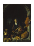 Maid Cleaning Carrots Giclee Print by Gerrit Dou