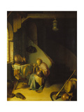 Rembrandt's Mother at the Spinning Wheel Giclee Print by Gerrit Dou