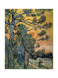 Pine Trees with Sunset and Female Figure, 1889 Giclee Print by Vincent van Gogh