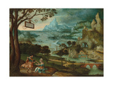 A Panoramic River Landscape with Judah and Tamar Giclee Print by Lucas Gassel