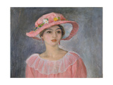Lady with a Pink Hat Giclee Print by Henri Lebasque