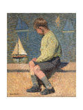 Boy with Sailing Boat at a Basin, Jardin Du Luxembourg, 1932-35 Giclee Print by Henri Martin