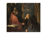 Nicodemus and Christ Giclee Print by Fritz von Uhde