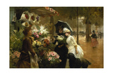 Flower Stand in Paris Giclee Print by Louis Marie De Schryver