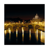 Night View of the Sant'Angelo Bridge and the Dome of the Basilica of Saint Peter in Rome Giclee Print by  Roman