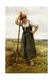 Peasant Woman Leaning on a Pitchfork Giclee Print by Julien Dupré