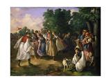Hungarian Villagers Dancing Giclee Print by János Jankó