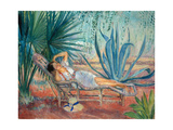 Marthe Taking a Break in a Deck Chair, Saint-Tropez, C. 1910-15 Giclee Print by Henri Lebasque