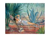 Marthe Taking a Break in a Deck Chair, Saint-Tropez, C. 1910-15 Giclee Print by Henri Lebasque