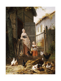 Feeding the Chickens, (Maes and Jan David Col, 1822-1900) Giclee Print by Eugene Remy Maes