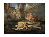 Narcissus and Echo Giclee Print by Nicolas Poussin