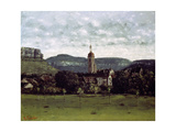 View of the Bell Tower of Ornans, C. 1858 Giclee Print by Gustave Courbet