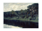 Pines Along the Shore of a Lake Giclee Print by Walter Leistikow