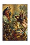 Saint Michael Defeating Satan, C. 1590 Giclée-tryk af Titian (Tiziano Vecelli)