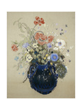 Flowers in a Blue Vase, C. 1905-08 Prints by Odilon Redon