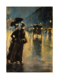 A Berlin Street Scene by Night with Coaches Giclee Print by Lesser Ury