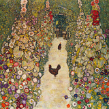 Garden Path with Chickens, 1916, Burned at Schloss Immendorf in 1945 Giclée-tryk af Gustav Klimt